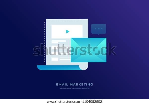 Communication concept, information dissemination, sending email. Letter sheet, envelope, video message and message icon on blue background. Flat vector illustration.
