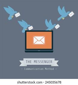 communication concept, pigeon send data