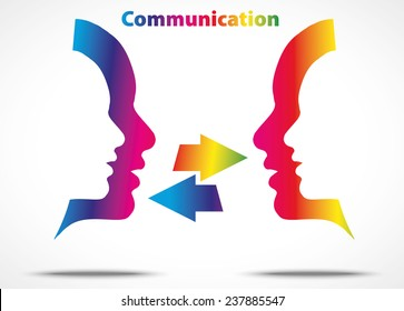 Communication concept, two face talking, illustration isolated on white