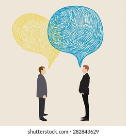 Communication concept. Two men with hand drawn speech bubbles. Flat design, vector illustration