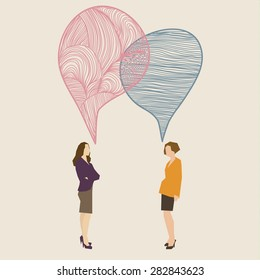 Communication concept. Two women with hand drawn speech bubbles. Flat design, vector illustration