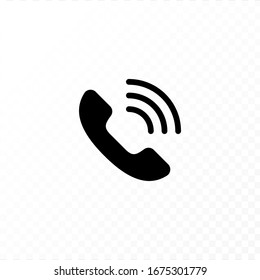 Communication concept. Vector flat outline icon illustration. Black and white isolated on transparent background. Phone call handset sign. Design element for web, ui, button, website, logo.