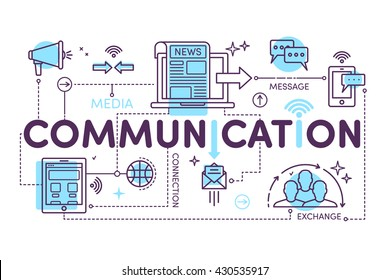 Communication concept for web and infographic. Linear design style modern vector illustration. The word communication