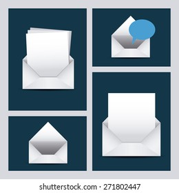 Communication design over blue background, vector illustration