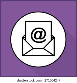 Communication design over purple background, vector illustration