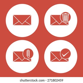 Communication design over red background, vector illustration