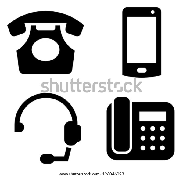 Communication Devices Icon Set Classic Telephone Stock Vector Royalty Free 196046093
