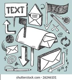 Communication doodles set. Hand-drawn vector image.