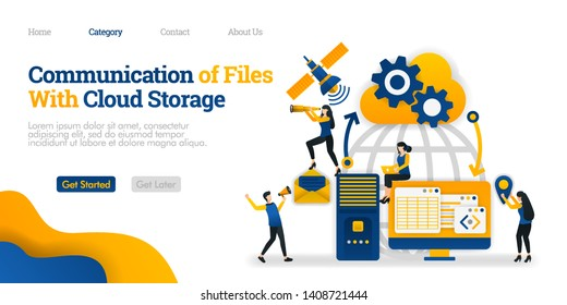 Communication of File With Cloud Storage between personal device, storage and satellite. Vector flat illustration concept, can use for, landing page, template, ui, web, homepage, poster, banner, flyer