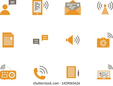 Communication flat icon set ,Vector
