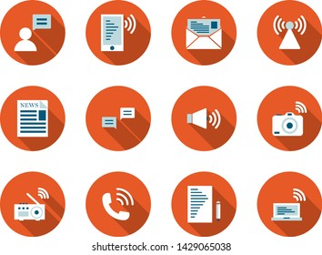 Communication flat long shadow icon set