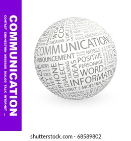 COMMUNICATION. Globe with different association terms. Vector illustration.