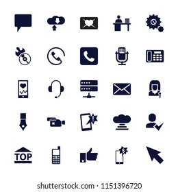 Communication icon. collection of 25 communication filled icons such as pointer, microphone, heartbeat on phone. editable communication icons for web and mobile.