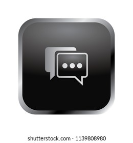 Communication icon: elegant silver chat bubble icon