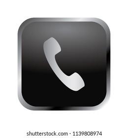 Communication icon: elegant silver phone handset icon