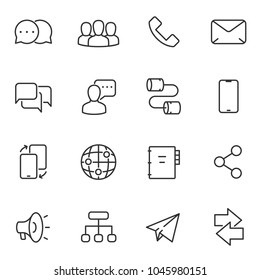 Communication icon set. Line with Editable stroke