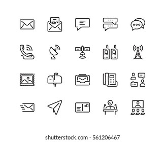 Communication icon set, outline style
