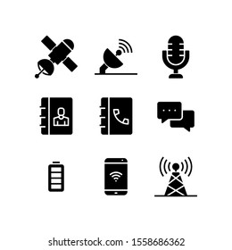 Communication icon set = Sattelite, antenna, microphone, contact book, phone book, chat, full battery, signal smartphone, tower signal