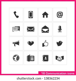 Communication icon set. Vector black pictograms for web, mobile, business: phone, call, speech bubble, email, letter, envelope, microphone, megaphone, heart, like, twitter, contact, handshake symbol