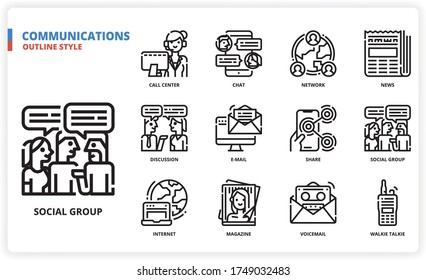 Communication icon set for web design, book, magazine, poster, ads, app, etc.
