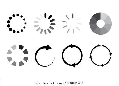 Communication icon set. Website icon symbol. Time icon vector. Status bar icon. Round shape. Stock image. EPS 10.