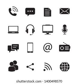 communication icon vector illustration set