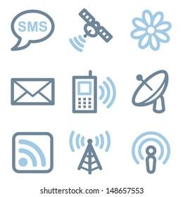 Communication icons, blue line contour series