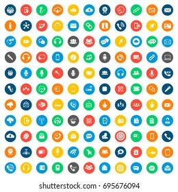 communication icons in colorful circles