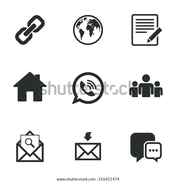 Communication Icons Contact Mail Signs Email Stock Vector (Royalty