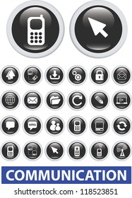 communication icons, glossy black buttons set, vector