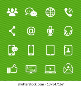 Communication Icons with Green Background