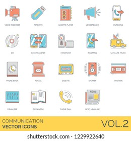 Communication icons including video recorder, pendrive, cassette player, loudspeaker, outgoing, cd, data transfer, handycam, incoming, satellite truck, phone, postal, speaker, VHS tape, equalizer.