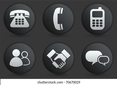 Communication Icons on Black Internet Button Collection Original Illustration