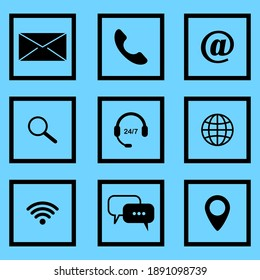 Communication icons on blue background. Website symbol. Contact button icon. Email envelope icon. Stock image. EPS 10.