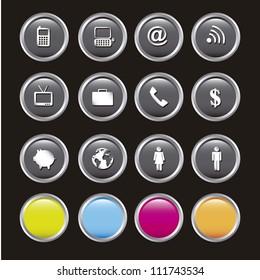 communication icons over black background. vector illustration