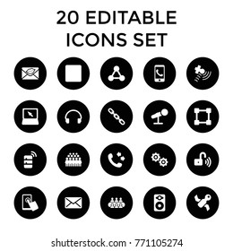 Communication icons. set of 20 editable filled communication icons such as call, group, satellite, phone call, chain, love letter, touchscreen, headset, laptop, speaker, stop