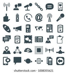 Communication icons. set of 36 editable filled communication icons such as signal tower, desk phone, news, world map, planet, heartbeat on phone, atom interaction, chain