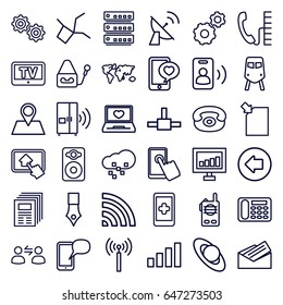 Communication icons set. set of 36 communication outline icons such as signal tower, train, tv, arrow left, gear, signal, desk phone, location pin, laptop with heart