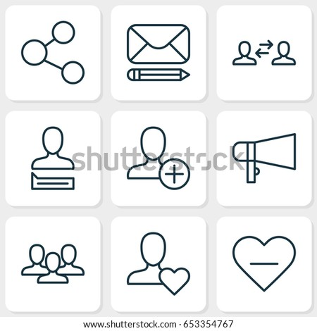 Communication Icons Set Collection Bullhorn Publication Stock Vector