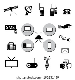 Communication icons set. Contact concept. Vector illustration