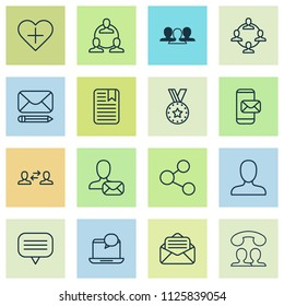 Communication icons set with group, member, speaking people and other online letter elements. Isolated vector illustration communication icons.
