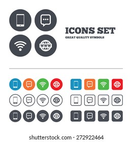 Communication icons. Smartphone and chat speech bubble symbols. Wifi and internet globe signs. Web buttons set. Circles and squares templates. Vector