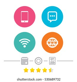 Communication icons. Smartphone and chat speech bubble symbols. Wifi and internet globe signs. Calendar, cogwheel and report linear icons. Star vote ranking. Vector