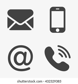 Communication Icons (smartphone, envelope, phone, e-mail)  in trendy flat style isolated on grey background. Contact symbols for your web site design, logo, app, UI. Vector illustration, EPS10.