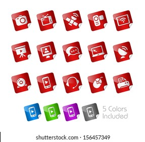 Communication Icons // Stickers Series ---- It includes 5 color versions for each icon in different layers -----