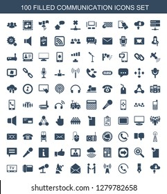 communication icons. Trendy 100 communication icons. Contain icons such as download cloud, ink pen, call, transmitter, shaking hands, envelope. communication icon for web and mobile.