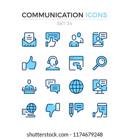 Communication icons. Vector line icons set. Premium quality. Simple thin line design. Modern outline symbols, pictograms.
