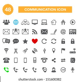 Communication icons for web - vector internet icons set