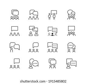 Communication line icon set. teamwork, collaboration, business icon