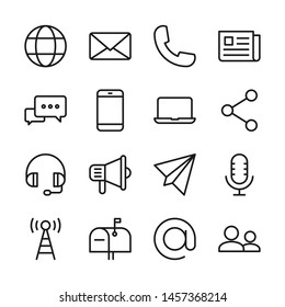 Communication line icons set vector illustration